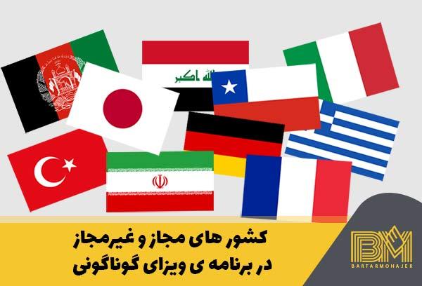 کشور های مجاز و غیرمجاز در لاتاری